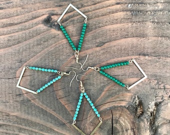 Diamond shape beaded earrings