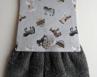 Handmade Hanging Hand Towel Grey with Horse & Cart