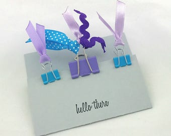 Ribbon Binder Planner Clips Aqua and Purple Back To School Girly Home Office School Supplies Ready to Ship Badass Girls Organize