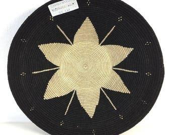 Zienzele Basket / Handmade Woven Plate / 14 inch / Zimbabwe Plate / Black White Pattern / Ethnic decor / Wall hanging
