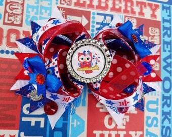 Patriotic Owl Ott Stars Stripes OTT Hair Bow