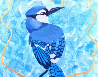 PRINT of Blue Bird Acrylic Painting, Beautiful, Bird Art, Birds, Blue, Animal Artwork, Abstract Bird Painting, Bird Painting