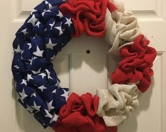 Flag Wreath, American Flag Wreath, Burlap Wreath, 4th of July Wreath, Patriotic Wreath, Memorial Day Wreath, Americana, Country