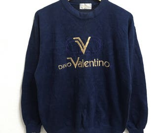 RARE!!! Dino Valentino Big Logo Embroidery Crew Neck Dark Blue Colour Sweatshirts Hip Hop Swag M Size