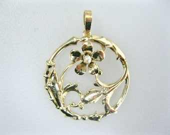 Vintage Estate 10K Yellow Gold Pendant With Cultured Pearl