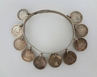 Antique Vintage Victorian Sterling Silver 10 Coin Love Token Charm Bracelet 1875 thru 1884