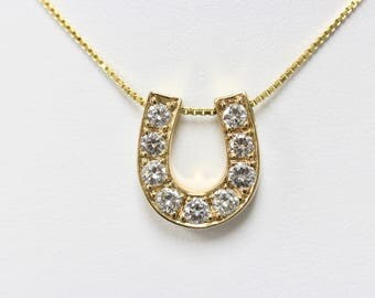 14K Yellow Gold and Diamond Horseshoe Pendant Necklace
