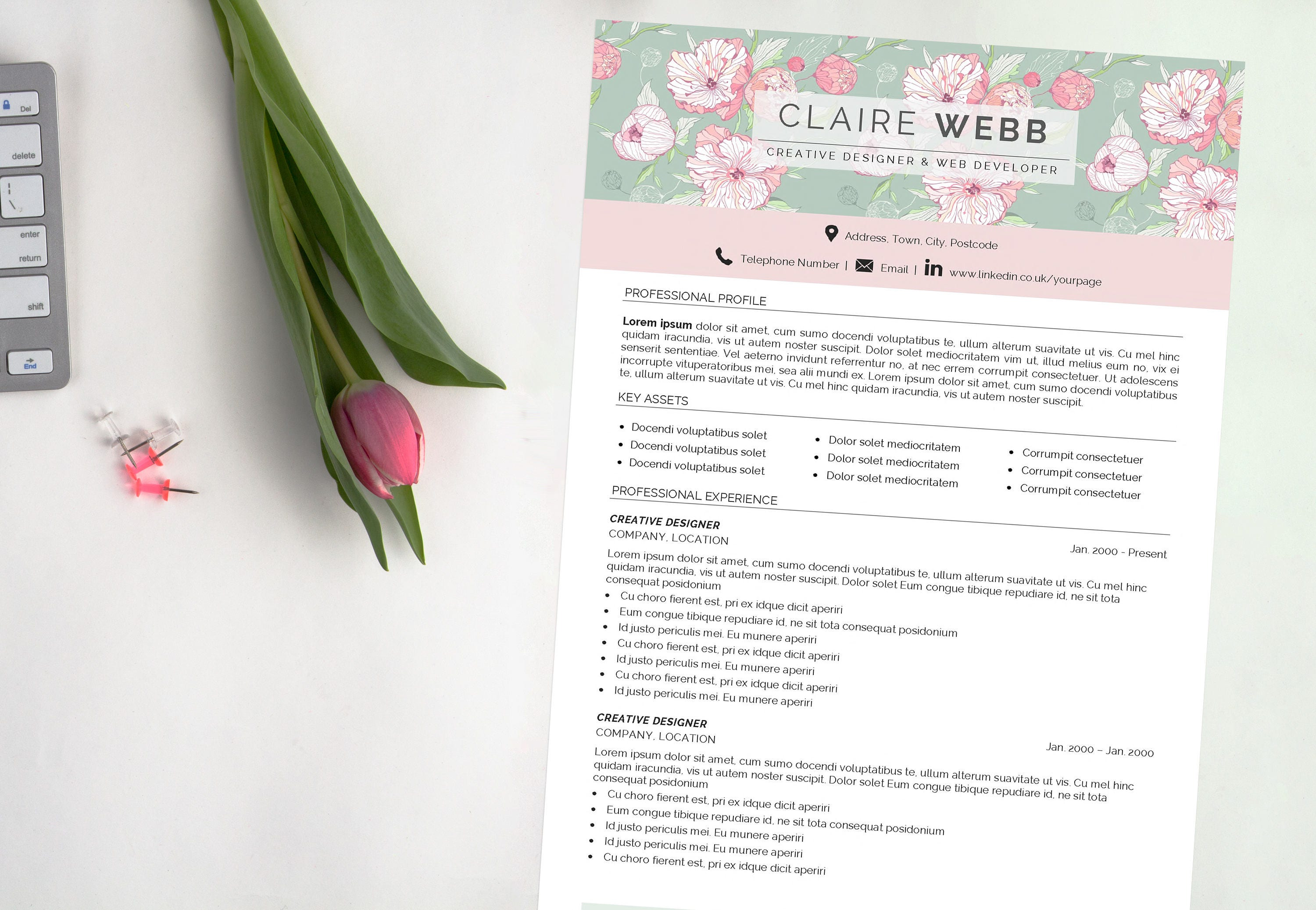 CV Resume | Pretty Floral Header | Matching Cover Letter Included | Instant  Digital Download |