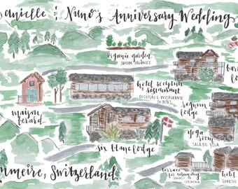 custom watercolor hand painted wedding map // destination wedding map // event wedding map // custom city map