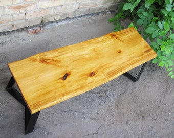 The Goldie - Entryway bench. Live edge bench. Live edge coffee table. Natural Wood Table. Natural Wood Bench. Coffee table. Entry Bench.
