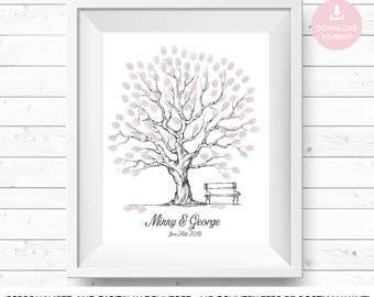 wedding guest tree, wedding guest book, wedding guestbook, finger print tree, fingerprint tree, guest book tree, wedding tree print, wedding