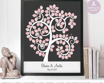 Silhouette Wedding Tree with Signature Leaves, Pink Wedding Signature Tree, Leaf Guestbook, humanist wedding, Personalised Guestbook Leaves