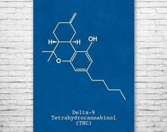 Delta-9 THC Molecule Poster Science Art Print Gift, Delta-9 Thc, Weed Art, Stoner Art, Thc Art, Cannabis Gift, Weed Gift, Stoner Gift