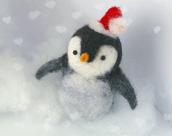 Pretty Needle felted Penguin Ornament perfect for your Christmas Tree this year