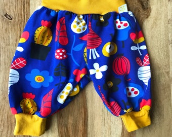 Baby Trousers, Blue Patterned Trousers, Organic Cotton