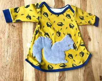 Nature Baby Dress with Grey Squirrel Design on Acorn Print Yellow Fabric Organic Cotton