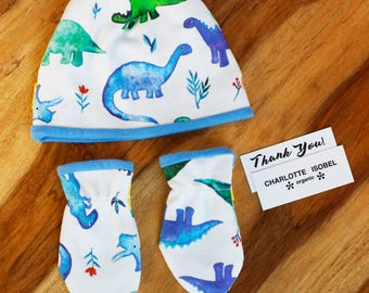Dinosaur Hat Set Organic Baby Sets Newborn Hat and Mittens Set