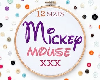 12 Sizes Mickey Mouse Disney Embroidery Font XXX Format Embroidery Machine,Initials Monogram,Monogram Design,Instant Download