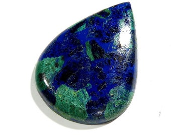 43Cts Azurite Malachite Pear Shape Loose Gemstone Cabochon Excellent!!! Azurite Stone - Azurite Cabochons Top Quality Natural Gems 36X27X6mm