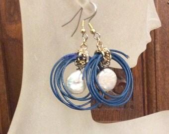 Lasso the Moon / Boho Earrings / Pearl Earrings / Leather earrings / Handmade earrings / OOAK earrings