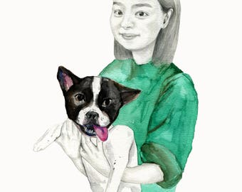 customise portrait painting, customise pet painting, watercolor original painting