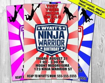 American Ninja Warrior Invitation, Ninja Warrior Birthday Party, Ninja Warrior Invite, Favor Tags, Thank You