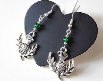 Outlander Scottish thistle silver green Claire Fraser sassenach Scotland Thistle earrings Celtic highland geek gift idea