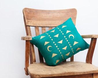 Turquoise Home Decor, Turquoise, Turquoise Decor, Tribal Decor, Moon Pillow, Triangle Decor, Throw Pillow, Linen Pillow, Triangle Pillow
