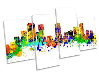 Denver City Skyline Colorado Modern Multi CANVAS WALL ART Picture Print