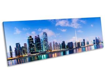 Dubai City Skyline Blue CANVAS WALL ART Panoramic Framed Print