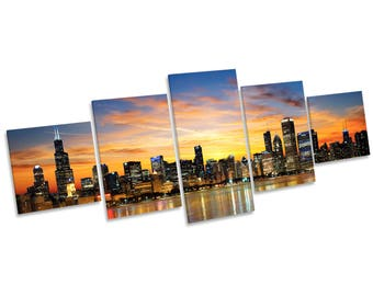 Chicago Illinois Sunset Skyline CANVAS WALL ART Five Panel Print Picture