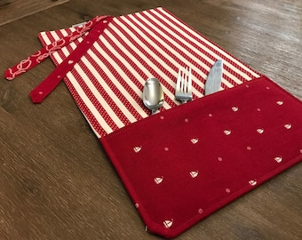 NAUTICAL / placemat roll utenciles, portable place mat, for school, for work, placemat for lunchbox!
