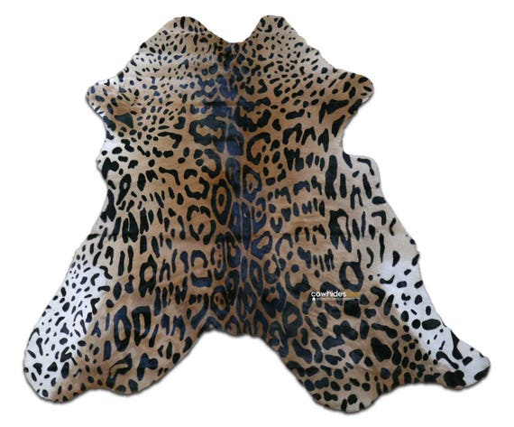 "Leopard Print Calf Skin Size: Around 35"" X 30"" Jaguar Print Mini Cowhide"