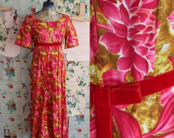 Vintage 1960s 1970s Psychedelic Pink and Orange Floral Hawaiian Maxi Dress. Medium. Velvet Bow.