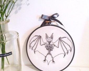 """Bat Skeleton Embroidery Hoop, 6"""" Hoop, Embroidery Art, Embroidery Hoop, Wall Decor"""