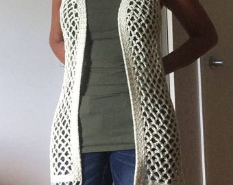 Handmade crochet cotton vintage boho bohemian 70s vest with fringe ivory cream, will fit XS S M