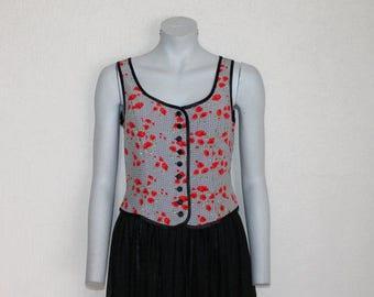 Poppy Floral Print Blouse Sleeveless Top Flower Summer Shirt Button up White Black Red Medium Size