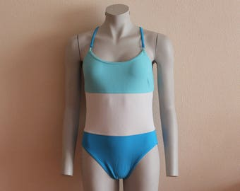 One Piece Swimsuit Retro Bodysuit Criss-Cross Back Swimsuit One Piece Blue White Colorblock Bathing Suit Vintage Swimwear Swimming Suits
