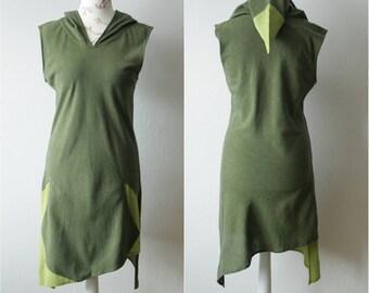 Vintage moss green hooded tank dress tunic Cotton asymmetric mini dress tunic Green sleeveless dress Pointed hoodie tunic Abstract dress