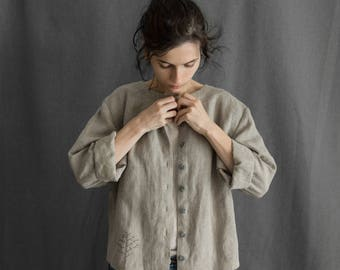 Linen jacket linen coat for women dust coat linen short cardigan grey linen jacket loose linen shirt summer jacket linen women's clothing