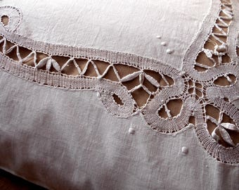 French Vintage Handmade Large Pillow Cover/Sham with Hand Embroidered Lace Decorative pillow Household linen Antique pillowcase white linen