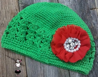 Green Hat/Baby Hat/Infant Hat/Baby Girl Hat/Girl Hat Baby/Toddler Hat/Red Flower Hat/Couture Boutique Accessories