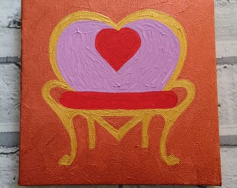 Pink, red and gold loveseat painting on a copper coloured background