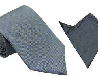 Grey Skinny Tie & Pocket Square Navy Blue Polka Dots | Dotted Poka Ties for Men | Spotted Ties for Wedding | Groomsmen Ties Pocket Squares