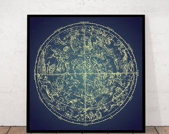 Antique Zodiac Print, Constellation Print, Zodiac Poster, Constellation Poster, Constellation Antique Print, Old Zodiac Poster, Zodiac Print
