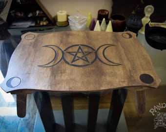 Altar table, Triple Moon, Pentagramm