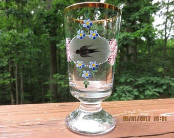 Vintage German Roemer Glass Enamel Bird & Flower Decor