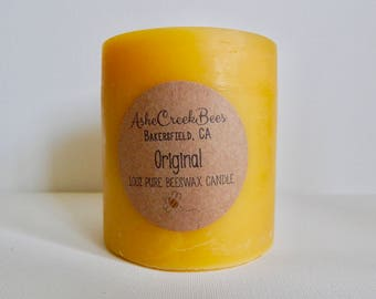 12oz Original Honey 100% Pure Filtered Beeswax Pillar Candle