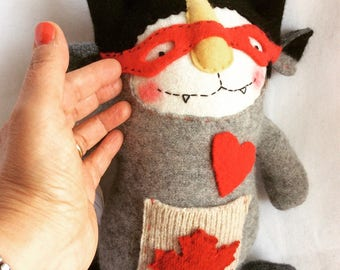 Wooly critters Canadian cat burglar, made from repurposed wool sweater, for children and adultds and collectible