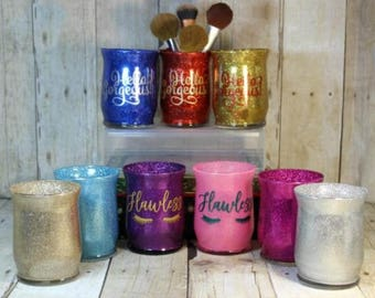 Make Up Jars, Glitter Make up jars, Customized Make Up Jars, personalized make up jars, Make up storage jars, make up containers